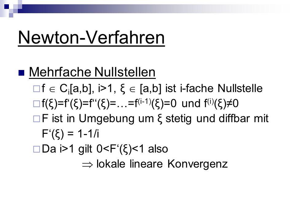Newton-Verfahren Mehrfache Nullstellen f C i [a,b], i>1, ξ [a,b] ist i-fache Nullstelle f(ξ)=f(ξ)=f(ξ)=…=f (i-1) (ξ)=0 und f (i) (ξ)0 F ist in Umgebun