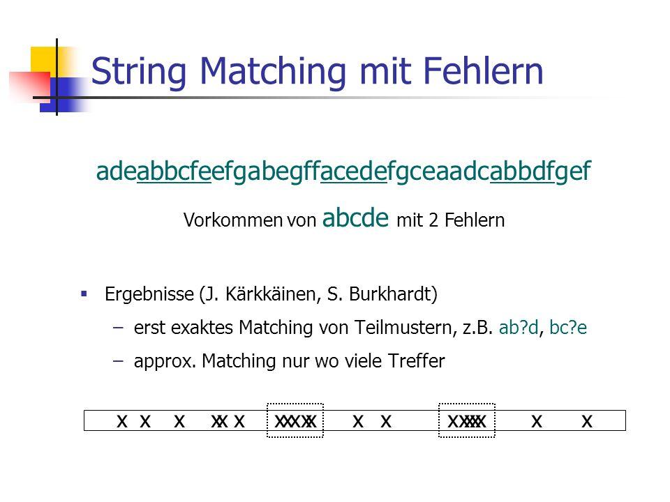 String Matching mit Fehlern Ergebnisse (J. Kärkkäinen, S. Burkhardt) –erst exaktes Matching von Teilmustern, z.B. ab?d, bc?e –approx. Matching nur wo