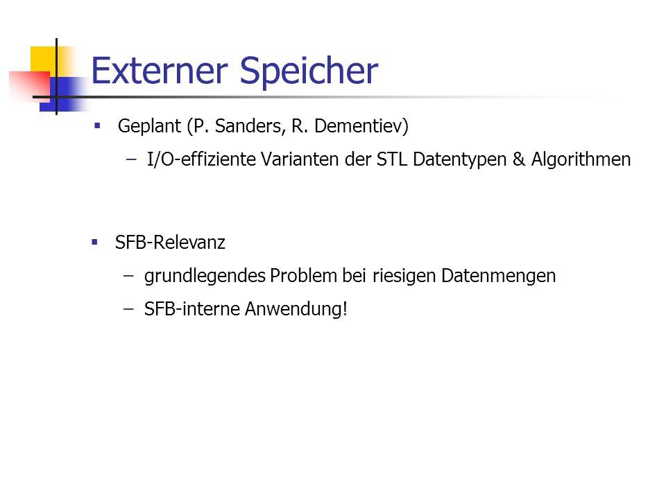 Externer Speicher Geplant (P. Sanders, R. Dementiev) –I/O-effiziente Varianten der STL Datentypen & Algorithmen SFB-Relevanz –grundlegendes Problem be