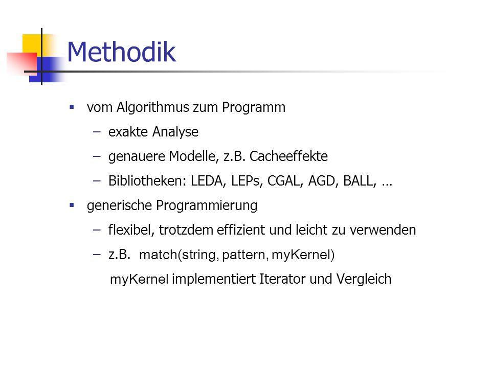 Methodik vom Algorithmus zum Programm –exakte Analyse –genauere Modelle, z.B. Cacheeffekte –Bibliotheken: LEDA, LEPs, CGAL, AGD, BALL, … generische Pr