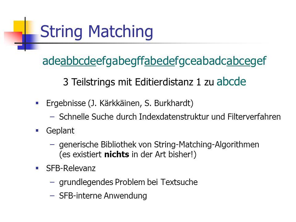 String Matching mit Fehlern Geplant –generische Bibliothek von String-Matching-Algorithmen (es existiert nichts in der Art bisher!) SFB-Relevanz –grundlegendes Problem –konkrete Anwendung in anderen Teilprojekten!