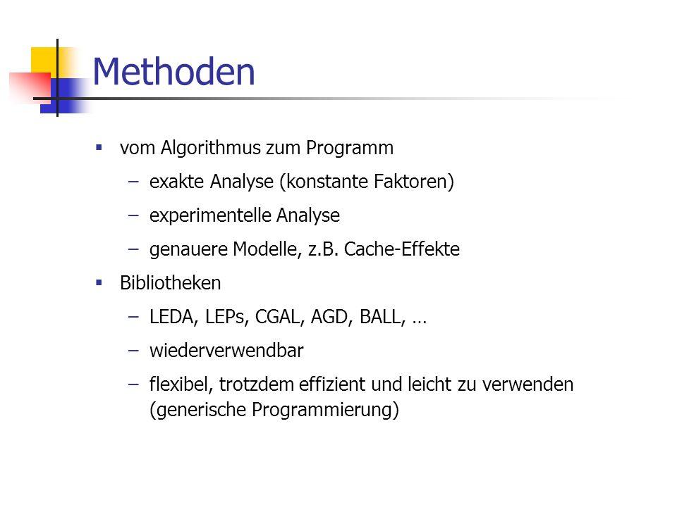 Methoden vom Algorithmus zum Programm –exakte Analyse (konstante Faktoren) –experimentelle Analyse –genauere Modelle, z.B. Cache-Effekte Bibliotheken