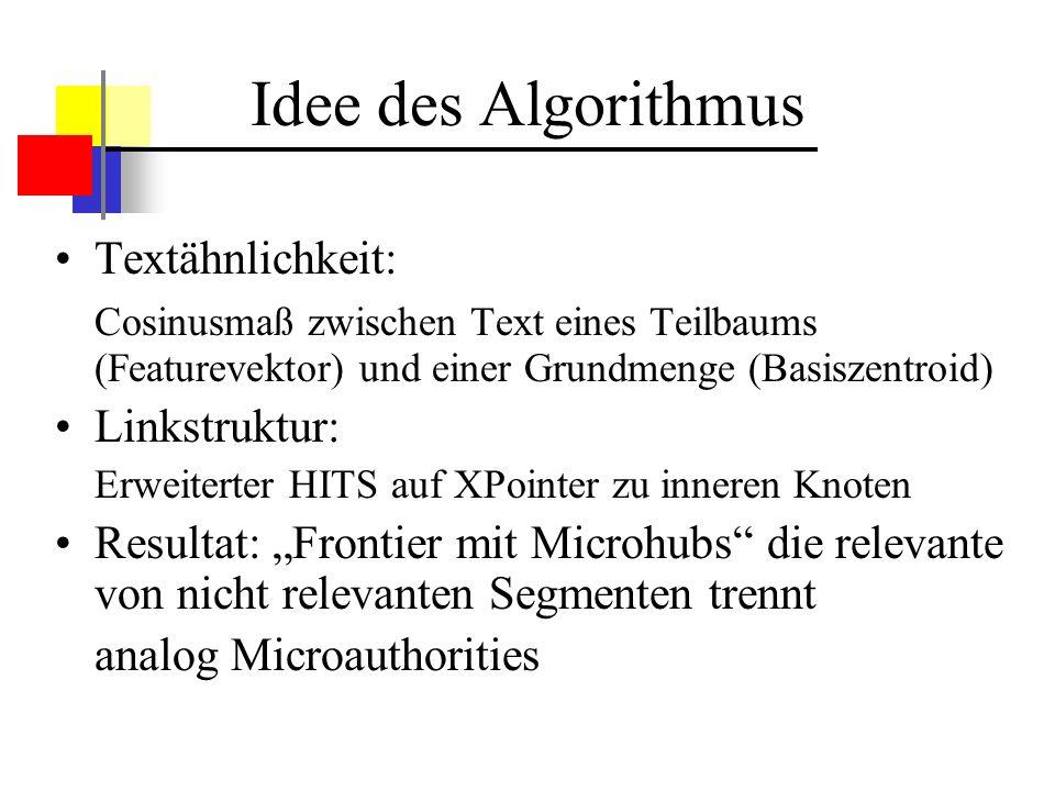 Textsuche Zu Beginn Basismenge => Basiszentroid TF-Werte als Grundlage Cosinusmaß zwischen Basiszentroid und aktuellem Teilbaum Wenn Ähnlichkeit größer als Schwellenparameter => Knoten in die Frontier