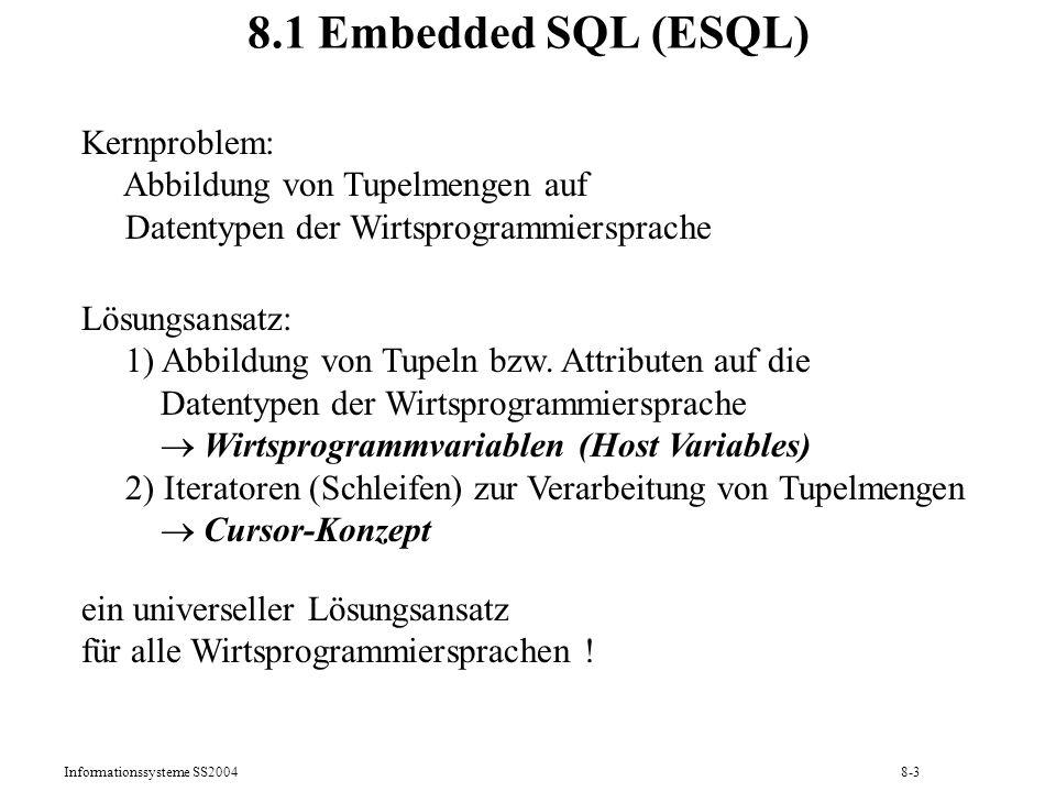 Informationssysteme SS20048-4 Architektur des ESQL-Precompilers ESQL-Programm Quellprogramm Ausführbares Programm ESQL-Precompiler Compiler & Binder Datenbank DB-Katalog Zugriffs- module Eingabe, Ausgabe Zugriff, Aufruf