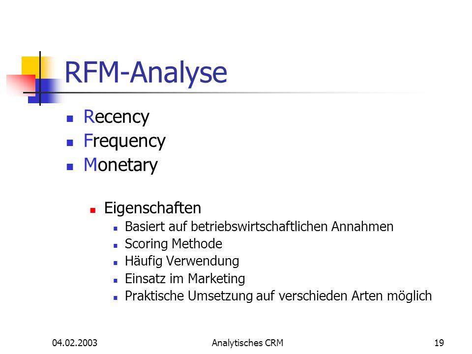 04.02.2003Analytisches CRM19 RFM-Analyse Recency Frequency Monetary Eigenschaften Basiert auf betriebswirtschaftlichen Annahmen Scoring Methode Häufig