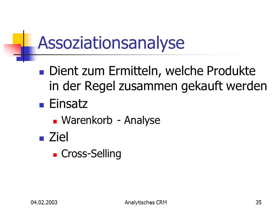 04.02.2003Analytisches CRM35 Assoziationsanalyse Dient zum Ermitteln, welche Produkte in der Regel zusammen gekauft werden Einsatz Warenkorb - Analyse