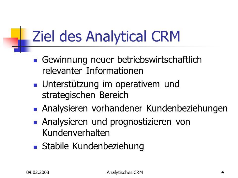 04.02.2003Analytisches CRM4 Ziel des Analytical CRM Gewinnung neuer betriebswirtschaftlich relevanter Informationen Unterstützung im operativem und st