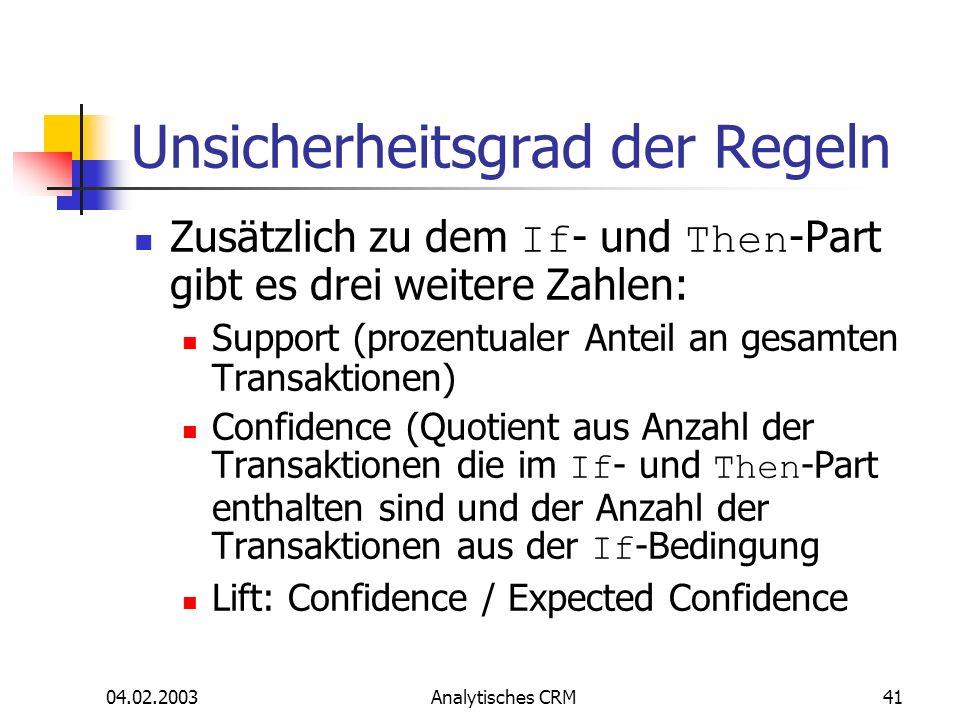 04.02.2003Analytisches CRM41 Unsicherheitsgrad der Regeln Zusätzlich zu dem If - und Then -Part gibt es drei weitere Zahlen: Support (prozentualer Ant