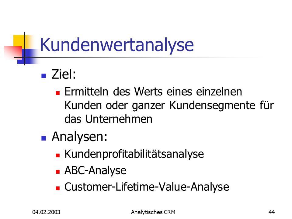 04.02.2003Analytisches CRM44 Kundenwertanalyse Ziel: Ermitteln des Werts eines einzelnen Kunden oder ganzer Kundensegmente für das Unternehmen Analyse
