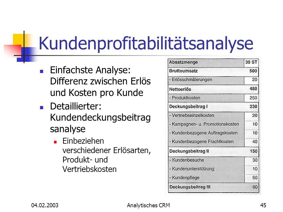 04.02.2003Analytisches CRM45 Kundenprofitabilitätsanalyse Einfachste Analyse: Differenz zwischen Erlös und Kosten pro Kunde Detaillierter: Kundendecku