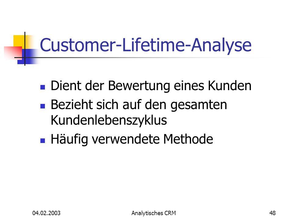 04.02.2003Analytisches CRM48 Customer-Lifetime-Analyse Dient der Bewertung eines Kunden Bezieht sich auf den gesamten Kundenlebenszyklus Häufig verwen