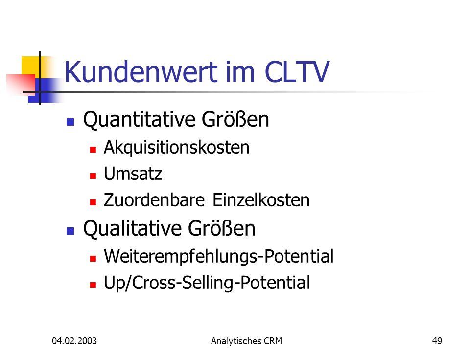 04.02.2003Analytisches CRM49 Kundenwert im CLTV Quantitative Größen Akquisitionskosten Umsatz Zuordenbare Einzelkosten Qualitative Größen Weiterempfeh