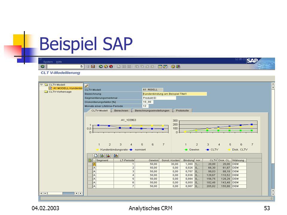 04.02.2003Analytisches CRM53 Beispiel SAP