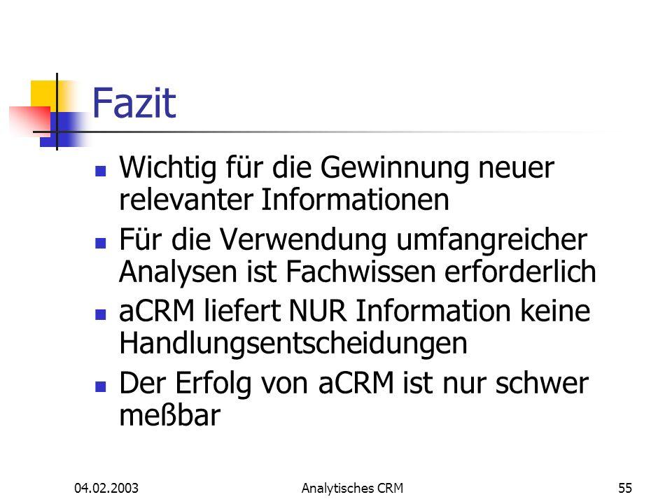 04.02.2003Analytisches CRM55 Fazit Wichtig für die Gewinnung neuer relevanter Informationen Für die Verwendung umfangreicher Analysen ist Fachwissen e