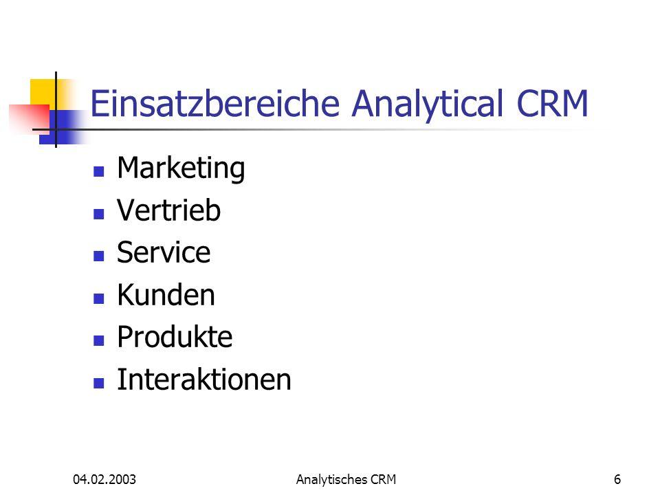 04.02.2003Analytisches CRM6 Einsatzbereiche Analytical CRM Marketing Vertrieb Service Kunden Produkte Interaktionen