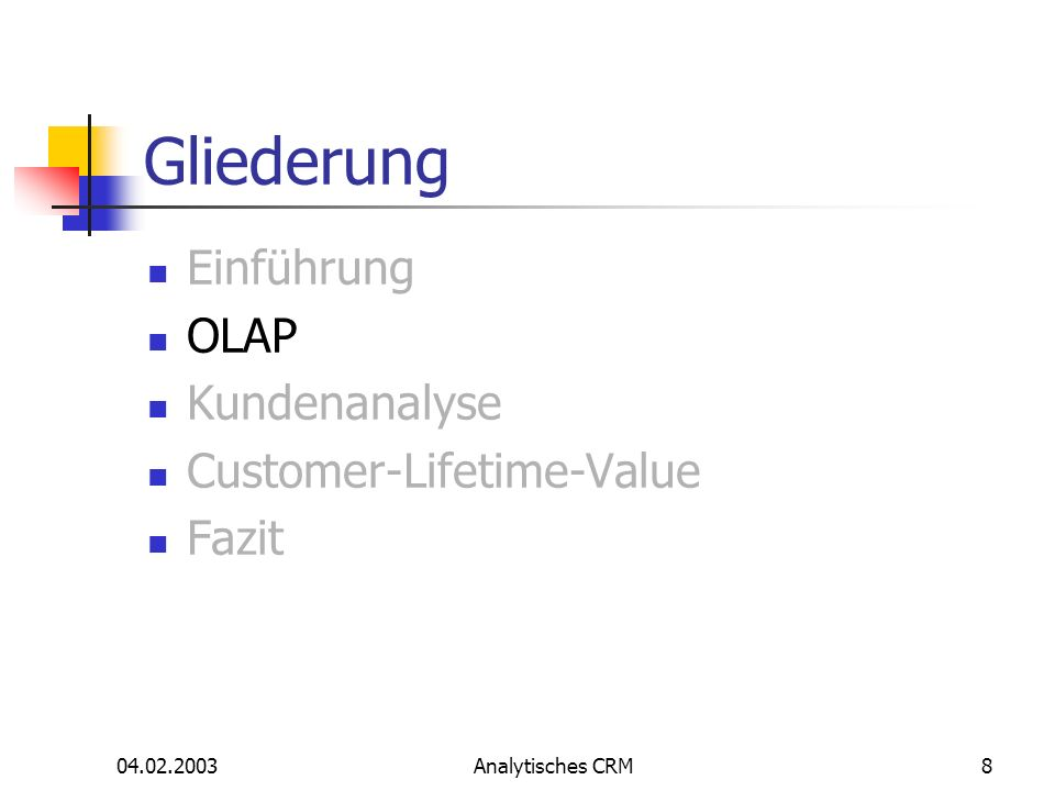04.02.2003Analytisches CRM9 OLAP Definition: On-Line Analytical Processing (OLAP) is a category of software technology that enables analysts, managers and executives to gain insight into data through fast, consistent, interactive access to a wide variety of possible views of information that has been transformed from raw data to reflect the real dimensionality of the enterprise as understood by the user.
