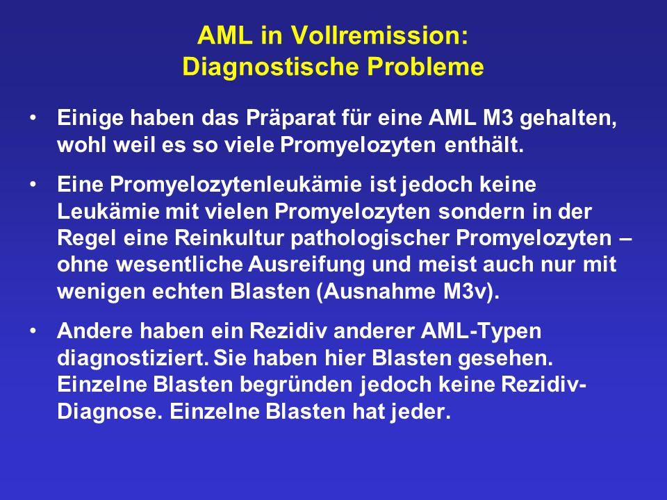 AML in Vollremission: Diagnostische Probleme Einige haben das Präparat für eine AML M3 gehalten, wohl weil es so viele Promyelozyten enthält. Eine Pro