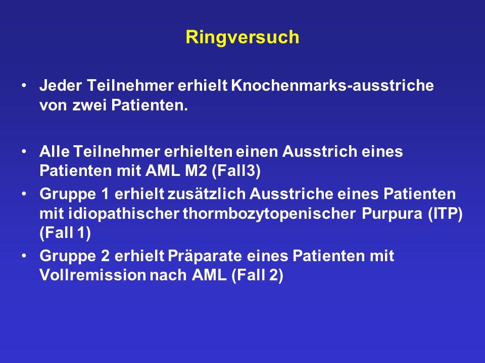 Fall 2: AML in Vollremission Die etwas unreife Zelle in der Mitte darf nicht als Blast bezeichnet werden.