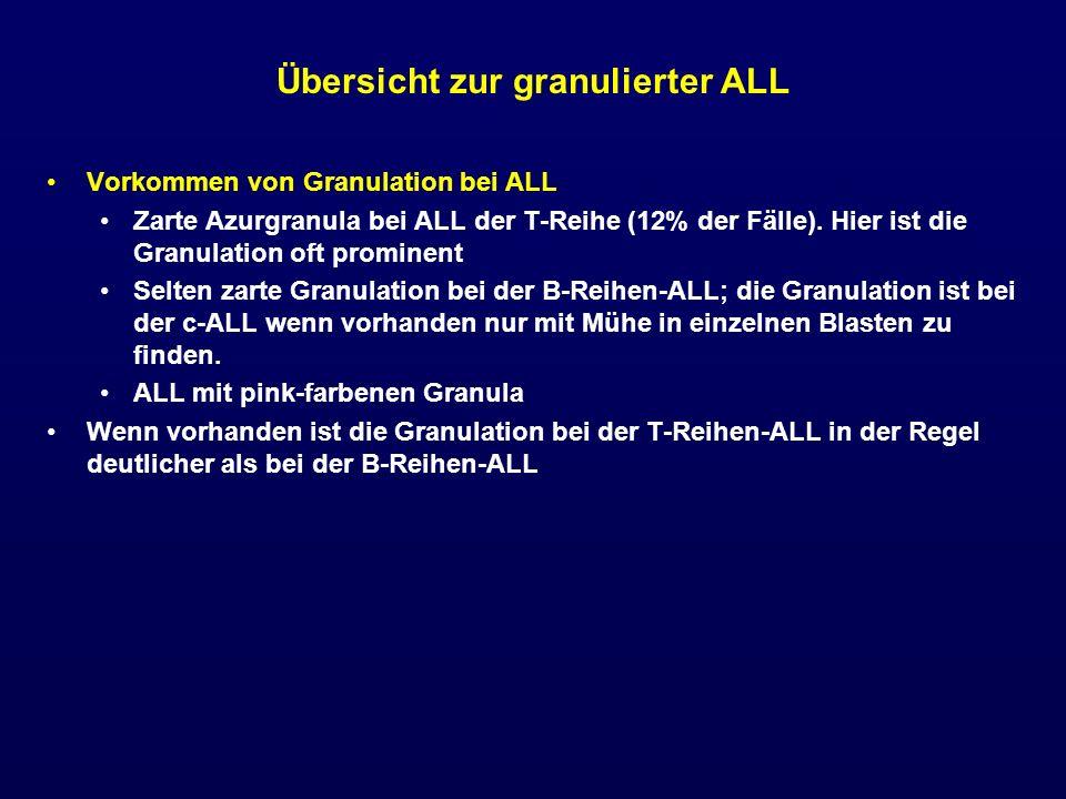 Übersicht zur granulierter ALL Vorkommen von Granulation bei ALL Zarte Azurgranula bei ALL der T-Reihe (12% der Fälle). Hier ist die Granulation oft p
