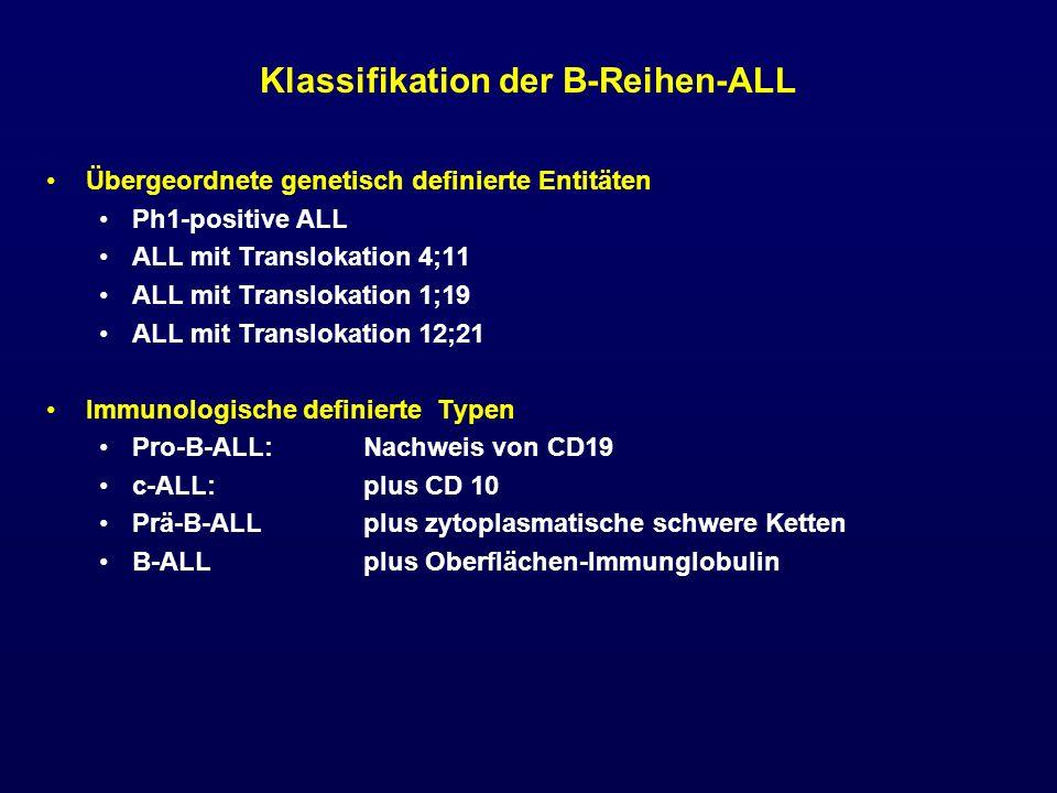 Abgrenzung der T-ALL Oberflächen- oder zytoplasmatisches CD3 definieren T-Reihe Abgrenzung der T-ALL von reifen T-Zell-Neoplasien durch TDT-Nachweis Klassifizierungs-Hierarchie CD1a definiert thymische ALL (beste Prognose) Oberflächen-CD3: definiert reife T-ALL bei CD1a-Negativität Zur Morphologie siehe auch Gassmann et al: Brit.