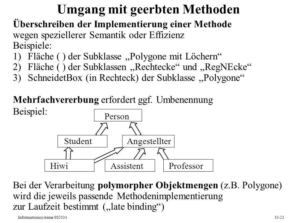 Informationssysteme SS200410-23 Umgang mit geerbten Methoden Überschreiben der Implementierung einer Methode wegen speziellerer Semantik oder Effizienz Beispiele: 1)Fläche ( ) der Subklasse Polygone mit Löchern 2)Fläche ( ) der Subklassen Rechtecke und RegNEcke 3)SchneidetBox (in Rechteck) der Subklasse Polygone Mehrfachvererbung erfordert ggf.