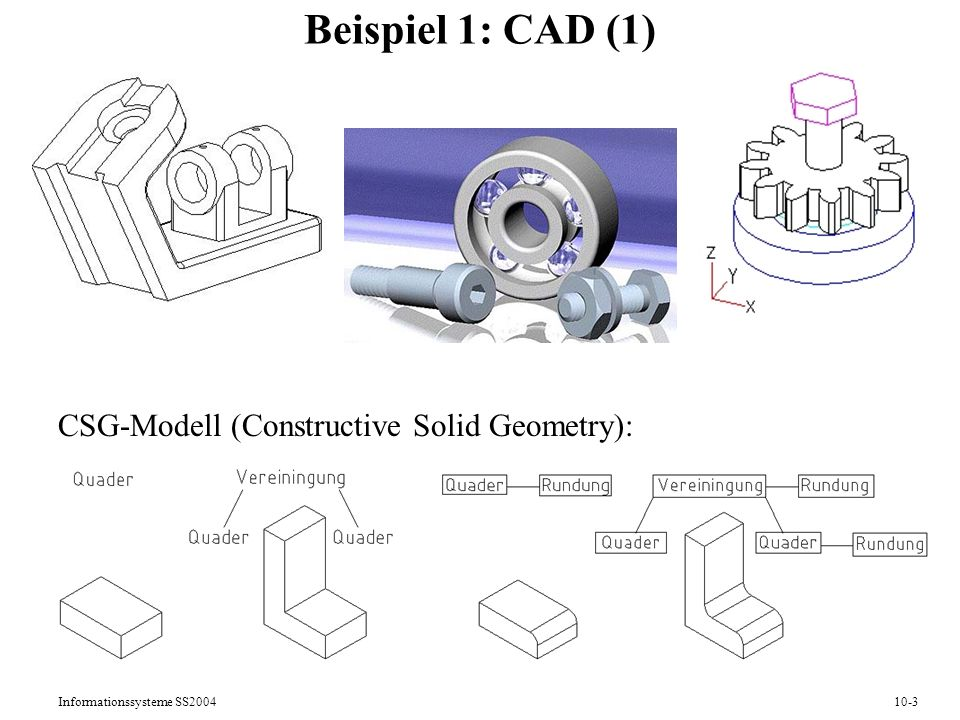 Informationssysteme SS200410-3 Beispiel 1: CAD (1) CSG-Modell (Constructive Solid Geometry):
