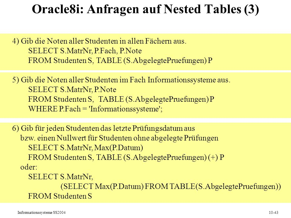 Informationssysteme SS200410-43 Oracle8i: Anfragen auf Nested Tables (3) 4) Gib die Noten aller Studenten in allen Fächern aus.