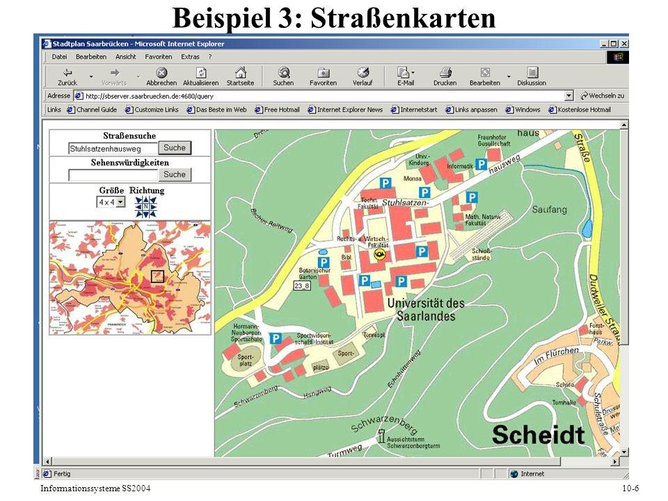 Informationssysteme SS200410-6 Beispiel 3: Straßenkarten