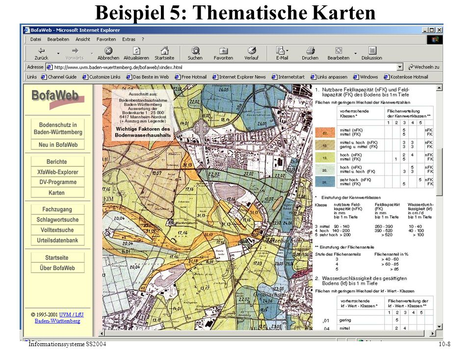 Informationssysteme SS200410-8 Beispiel 5: Thematische Karten