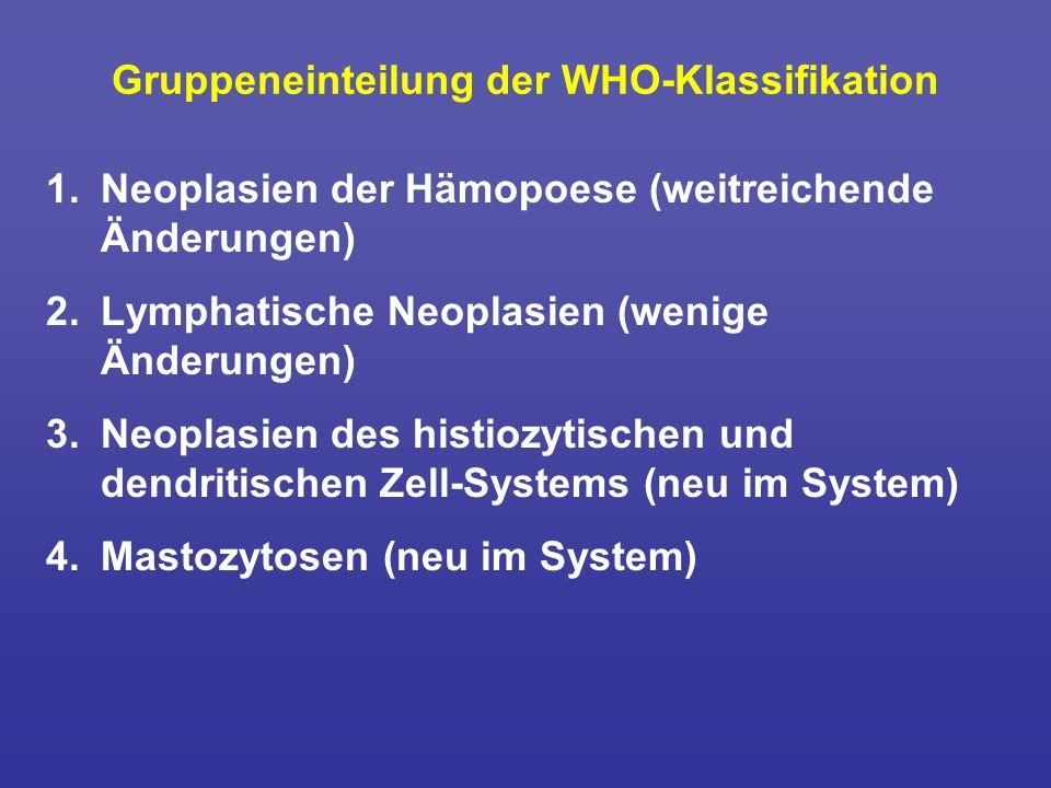 Gruppeneinteilung der WHO-Klassifikation 1.Neoplasien der Hämopoese (weitreichende Änderungen) 2.Lymphatische Neoplasien (wenige Änderungen) 3.Neoplas