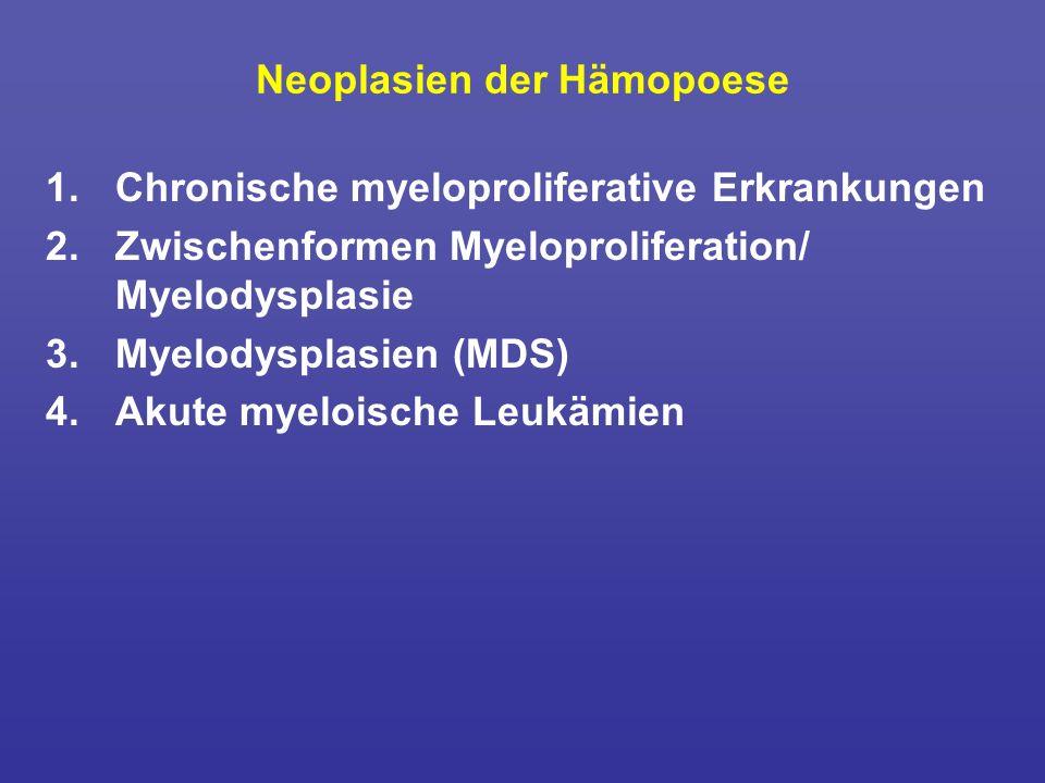 Neoplasien der Hämopoese 1.Chronische myeloproliferative Erkrankungen 2.Zwischenformen Myeloproliferation/ Myelodysplasie 3.Myelodysplasien (MDS) 4.Ak
