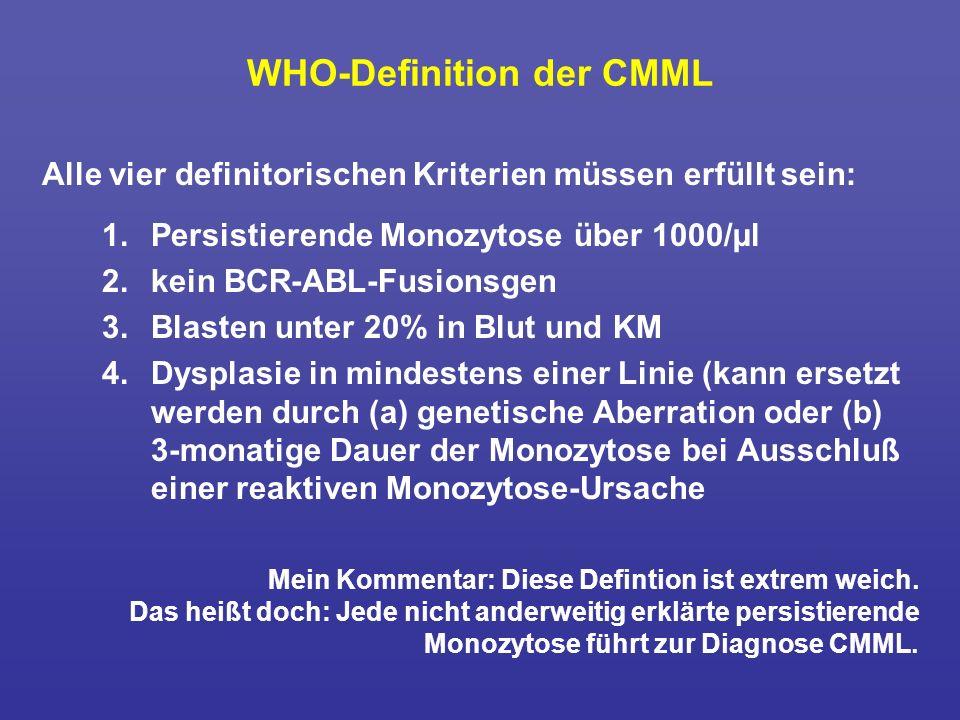 WHO-Definition der CMML Alle vier definitorischen Kriterien müssen erfüllt sein: 1. Persistierende Monozytose über 1000/µl 2. kein BCR-ABL-Fusionsgen