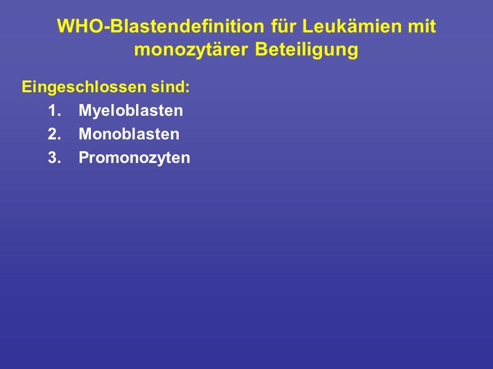 WHO-Blastendefinition für Leukämien mit monozytärer Beteiligung Eingeschlossen sind: 1. Myeloblasten 2.Monoblasten 3. Promonozyten