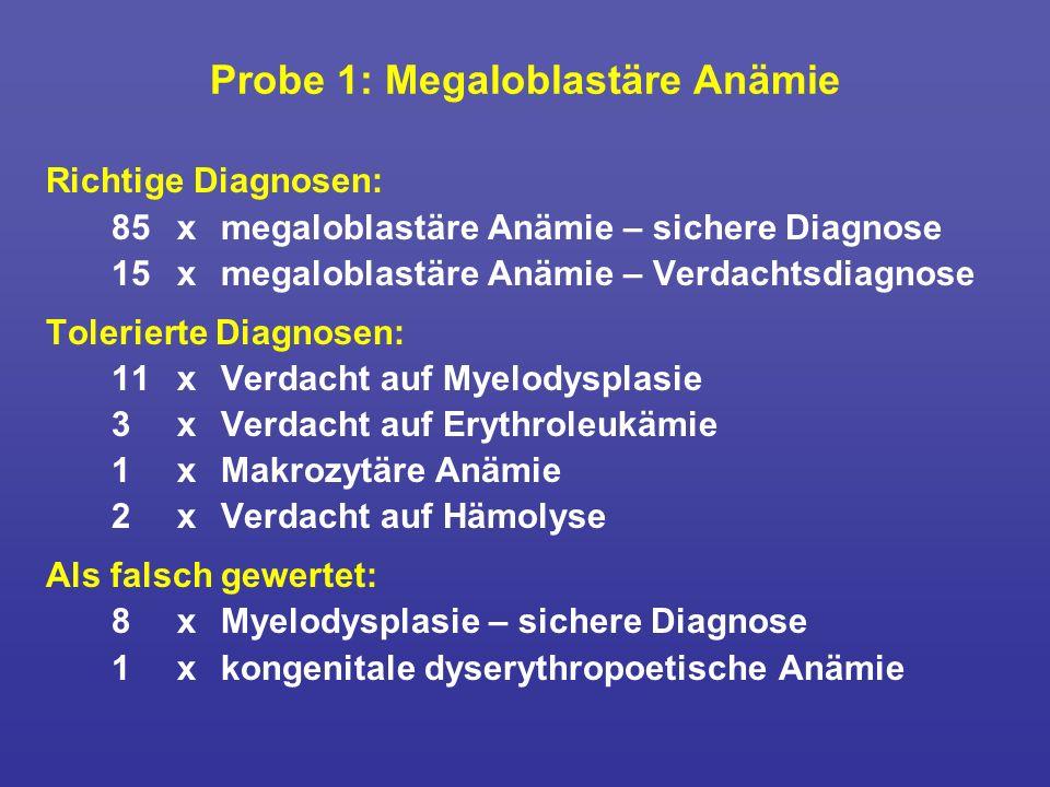 Probe 1: Megaloblastäre Anämie Richtige Diagnosen: 85 x megaloblastäre Anämie – sichere Diagnose 15xmegaloblastäre Anämie – Verdachtsdiagnose Tolerier