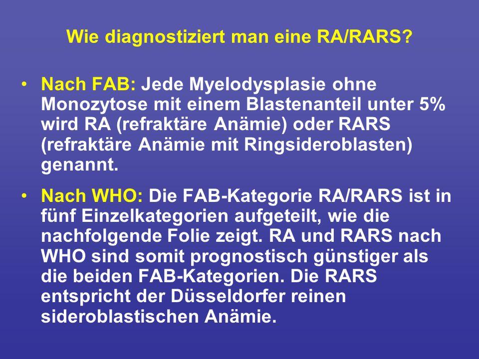 Wie diagnostiziert man eine RA/RARS? Nach FAB: Jede Myelodysplasie ohne Monozytose mit einem Blastenanteil unter 5% wird RA (refraktäre Anämie) oder R