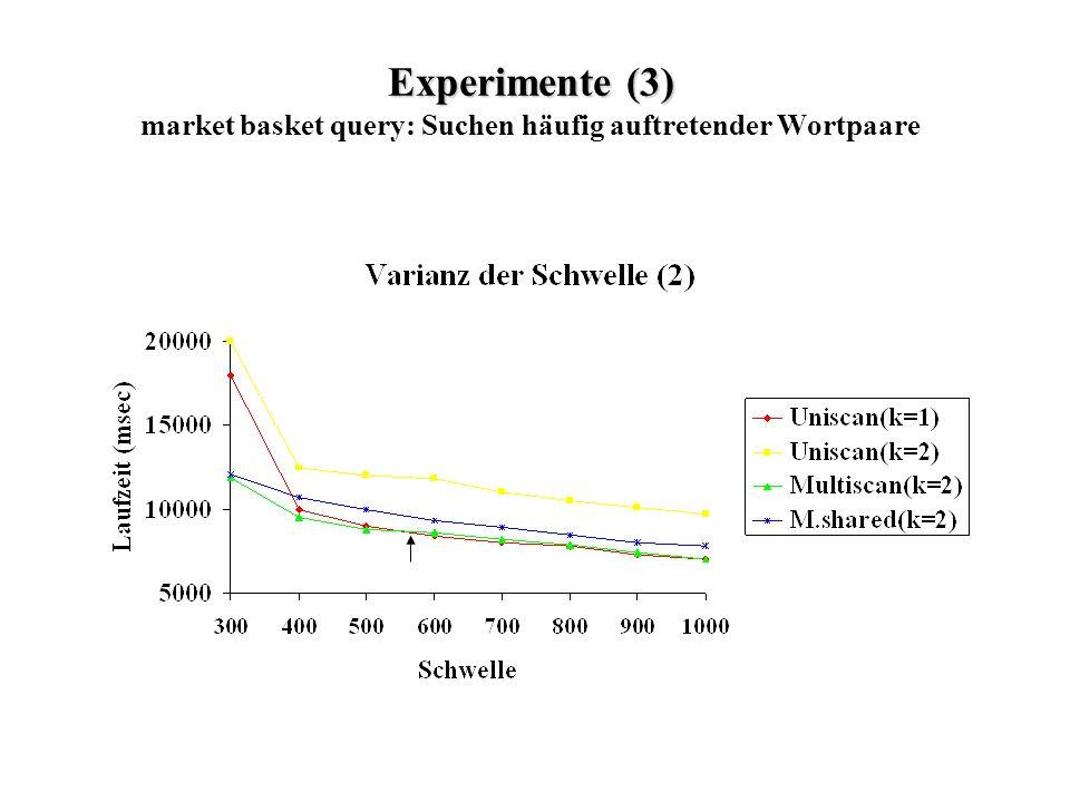 Experimente (3) Experimente (3) market basket query: Suchen häufig auftretender Wortpaare