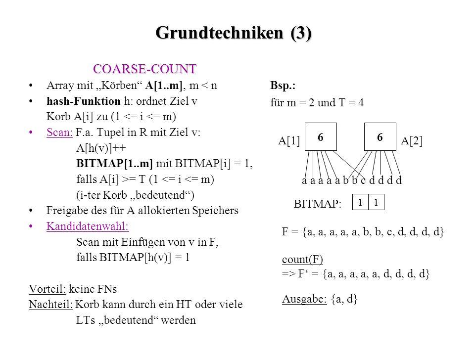 Grundtechniken (3) Bsp.: für m = 2 und T = 4 COARSE-COUNT Array mit Körben A[1..m], m < n hash-Funktion h: ordnet Ziel v Korb A[i] zu (1 <= i <= m) Scan: F.a.