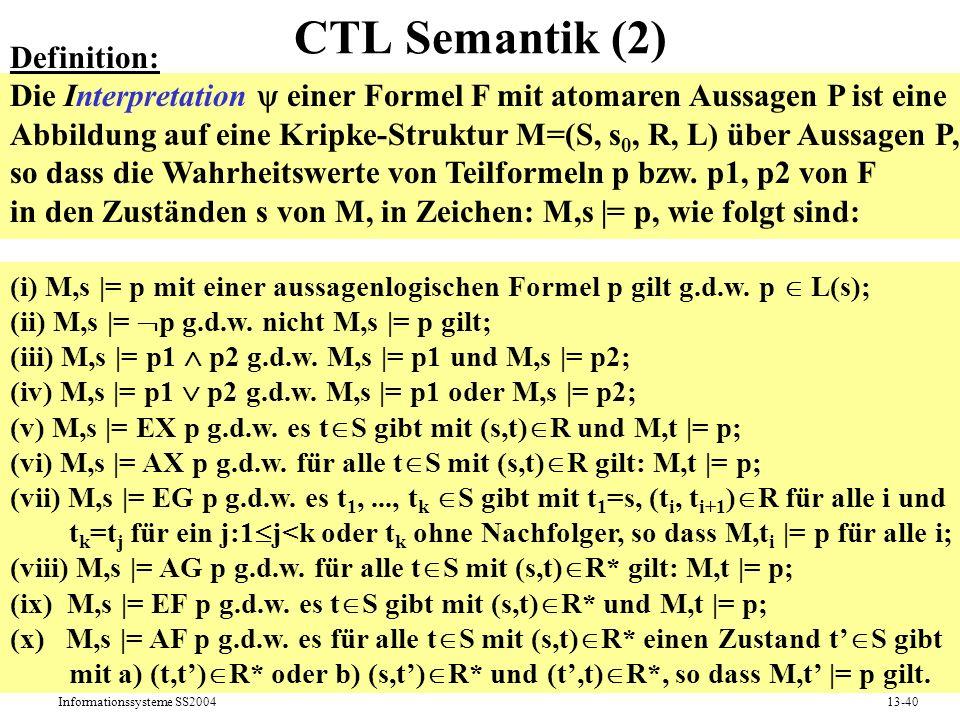 Informationssysteme SS200413-40 CTL Semantik (2) Definition: Die Interpretation einer Formel F mit atomaren Aussagen P ist eine Abbildung auf eine Kri