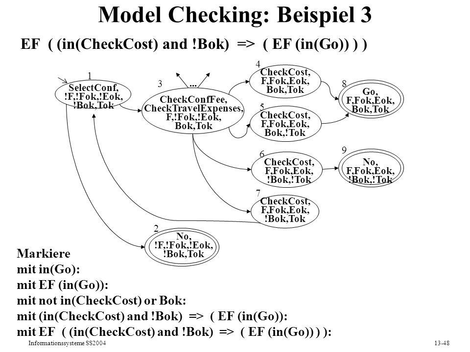 Informationssysteme SS200413-48 Model Checking: Beispiel 3 SelectConf, !F,!Fok,!Eok, !Bok,Tok CheckCost, F,Fok,Eok, Bok,!Tok No, !F,!Fok,!Eok, !Bok,To