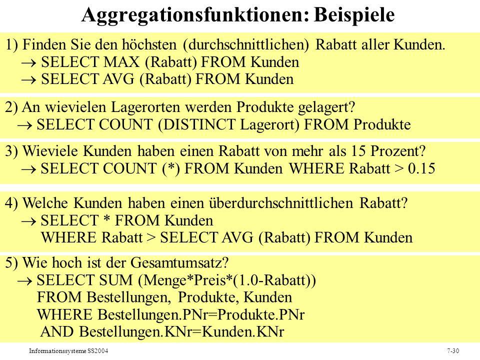 Informationssysteme SS20047-30 Aggregationsfunktionen: Beispiele 1) Finden Sie den höchsten (durchschnittlichen) Rabatt aller Kunden.
