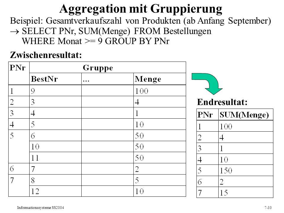 Informationssysteme SS20047-33 Aggregation mit Gruppierung Beispiel: Gesamtverkaufszahl von Produkten (ab Anfang September) SELECT PNr, SUM(Menge) FROM Bestellungen WHERE Monat >= 9 GROUP BY PNr Zwischenresultat: Endresultat: