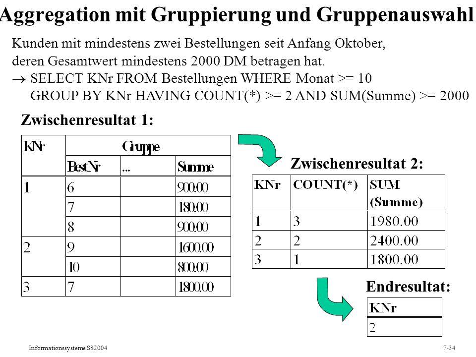 Informationssysteme SS20047-34 Aggregation mit Gruppierung und Gruppenauswahl Zwischenresultat 1: Kunden mit mindestens zwei Bestellungen seit Anfang Oktober, deren Gesamtwert mindestens 2000 DM betragen hat.