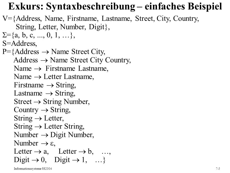 Informationssysteme SS20047-5 Exkurs: Syntaxbeschreibung – einfaches Beispiel V={Address, Name, Firstname, Lastname, Street, City, Country, String, Letter, Number, Digit}, ={a, b, c,..., 0, 1, …}, S=Address, P={Address Name Street City, Address Name Street City Country, Name Firstname Lastname, Name Letter Lastname, Firstname String, Lastname String, Street String Number, Country String, String Letter, String Letter String, Number Digit Number, Number, Letter a, Letter b, …, Digit 0, Digit 1, …}