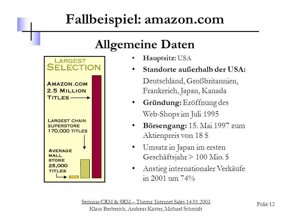 Seminar CRM & SRM – Thema: Internet Sales 14.01.2003 Klaus Berberich, Andreas Kaster, Michael Schmidt Folie 12 Fallbeispiel: amazon.com Hauptsitz: USA