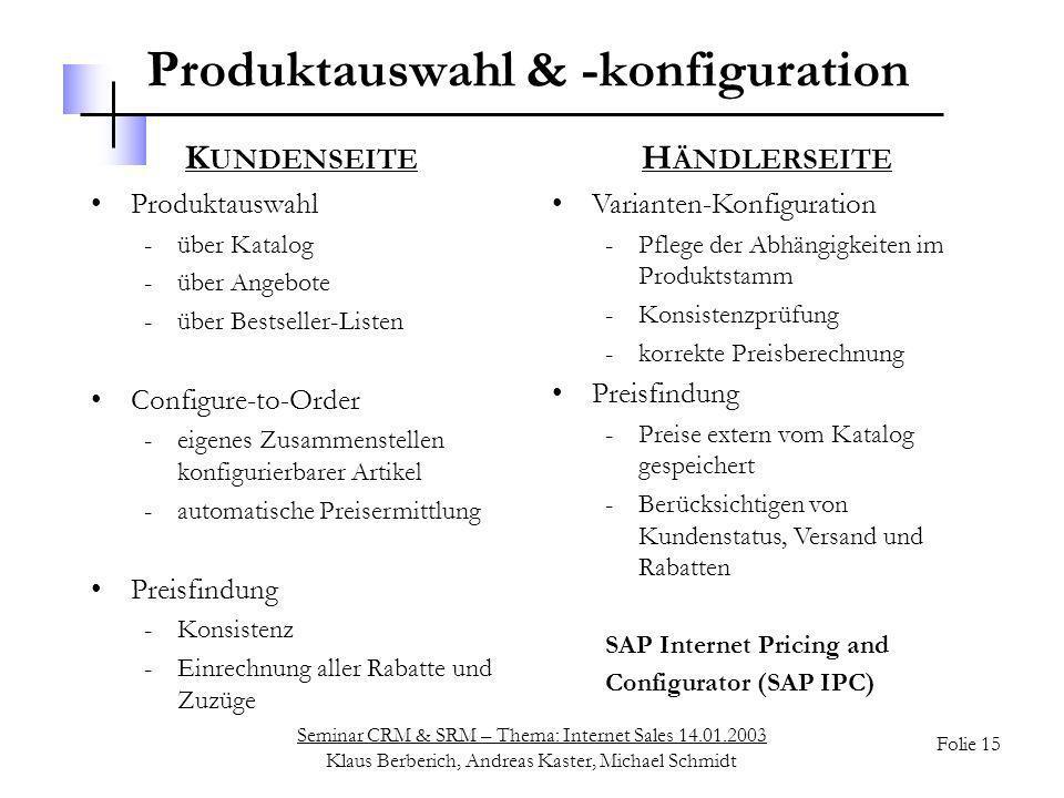 Seminar CRM & SRM – Thema: Internet Sales 14.01.2003 Klaus Berberich, Andreas Kaster, Michael Schmidt Folie 15 Produktauswahl & -konfiguration K UNDEN