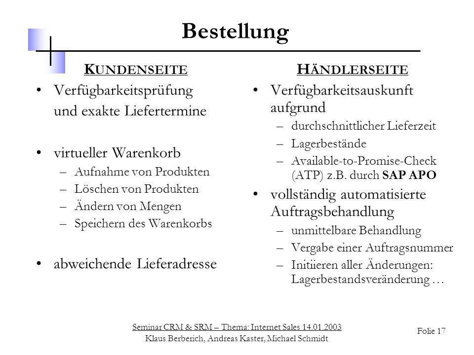 Seminar CRM & SRM – Thema: Internet Sales 14.01.2003 Klaus Berberich, Andreas Kaster, Michael Schmidt Folie 17 Bestellung K UNDENSEITE Verfügbarkeitsp