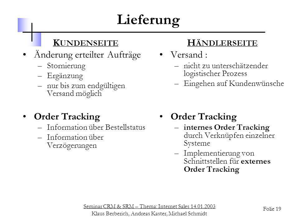 Seminar CRM & SRM – Thema: Internet Sales 14.01.2003 Klaus Berberich, Andreas Kaster, Michael Schmidt Folie 19 Lieferung K UNDENSEITE Änderung erteilt