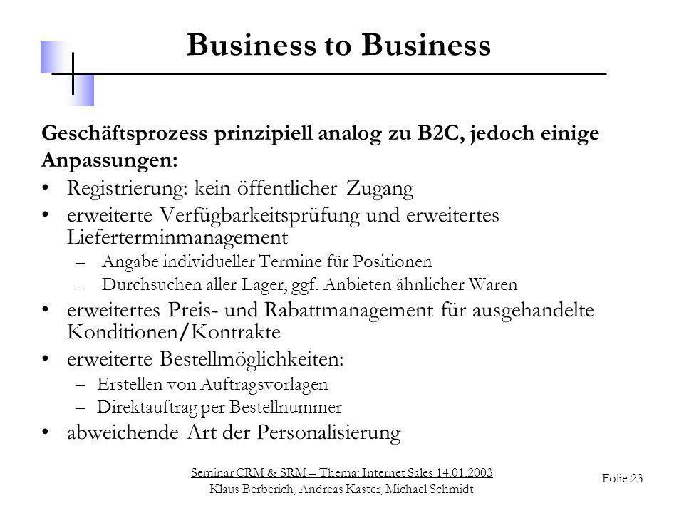 Seminar CRM & SRM – Thema: Internet Sales 14.01.2003 Klaus Berberich, Andreas Kaster, Michael Schmidt Folie 23 Business to Business Geschäftsprozess p