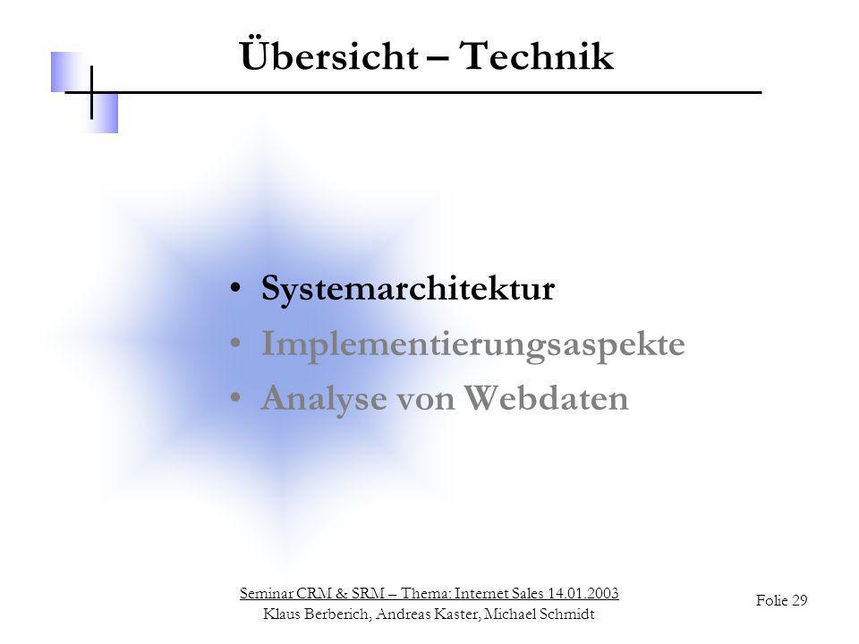Seminar CRM & SRM – Thema: Internet Sales 14.01.2003 Klaus Berberich, Andreas Kaster, Michael Schmidt Folie 29 Übersicht – Technik Systemarchitektur I