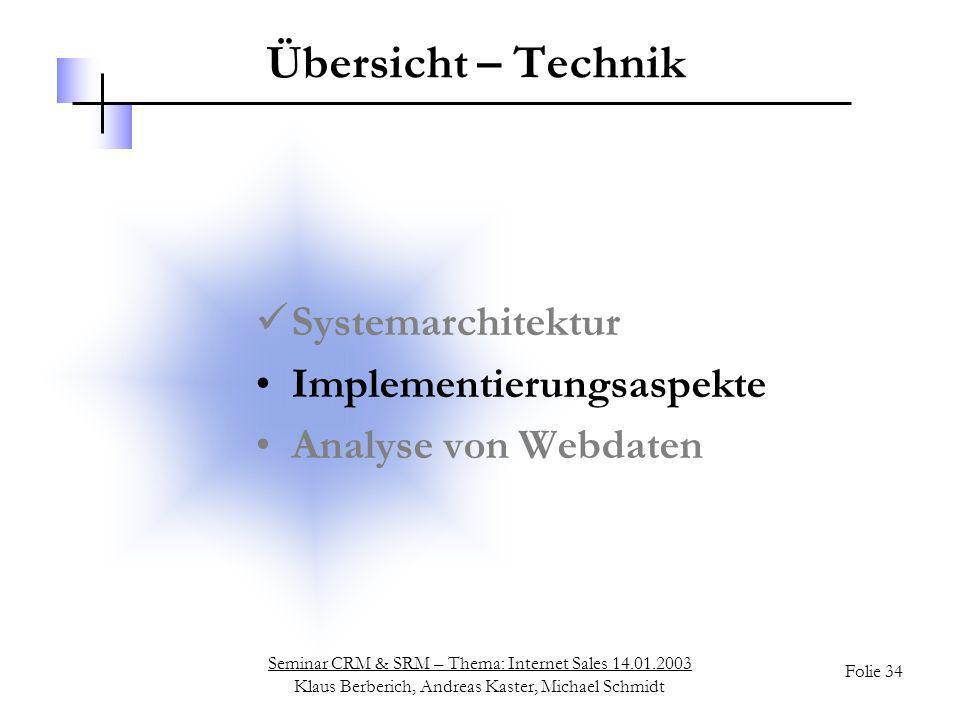 Seminar CRM & SRM – Thema: Internet Sales 14.01.2003 Klaus Berberich, Andreas Kaster, Michael Schmidt Folie 34 Übersicht – Technik Systemarchitektur I